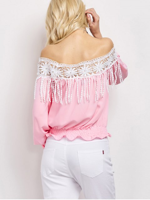 sale Cut Out Off The Shoulder Blouse - PINK XL Mobile
