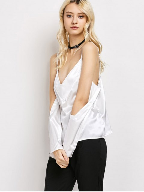 outfits Cold Shoulder Satin Cami Top - WHITE L Mobile
