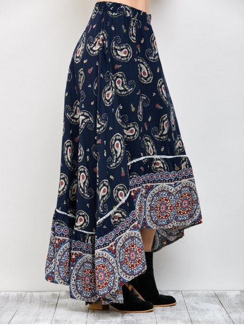 affordable Paisley Pattern Bohemian Maxi Skirt - PURPLISH BLUE L Mobile