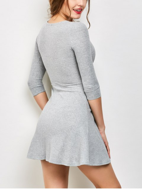 women V Neck Lace Up Ribbed Jumper Dress - GRAY M Mobile