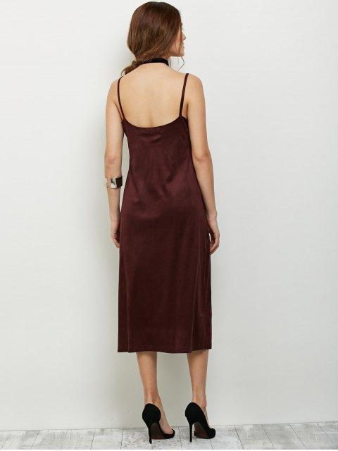 sale Faux Suede Slip Dress - BURGUNDY M Mobile
