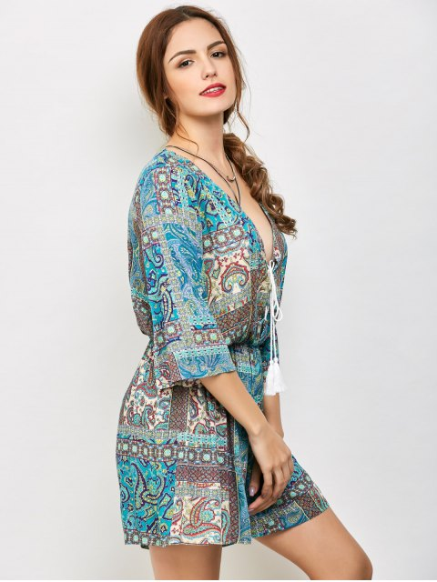 shop Paisley Print V Neck Lace Up Playsuit - LAKE GREEN S Mobile