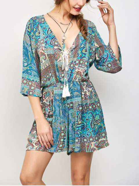 outfit Paisley Print V Neck Lace Up Playsuit - LAKE GREEN L Mobile