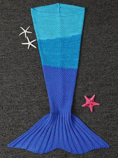 Color Block Knit Kids' Mermaid Blanket Throw - BLUE  Mobile