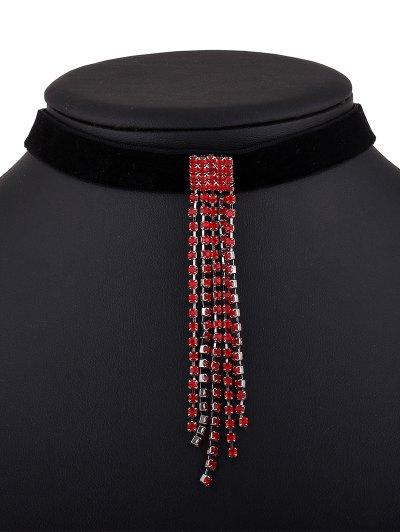 Velvet Rhinestone Tassel Choker - RED  Mobile