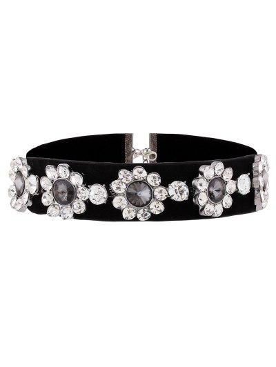 Velvet Floral Rhinestone Choker - BLACK  Mobile