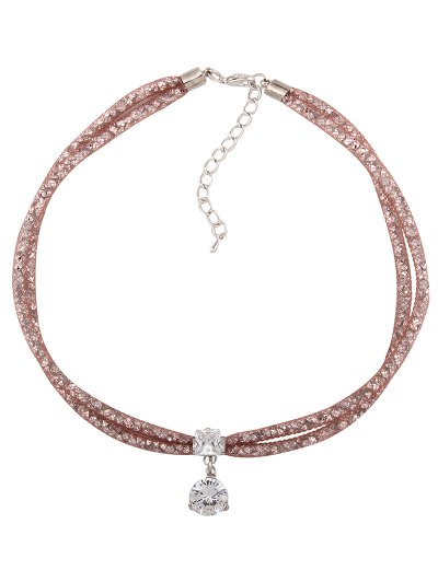 Rhinestone Mesh Pendant Necklace - ROSE GOLD  Mobile