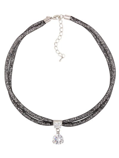 Rhinestone Mesh Pendant Necklace - BLACK  Mobile