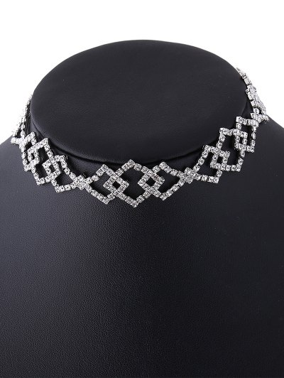 Hollow Out Rhinestoned Rhombus Necklace - WHITE  Mobile