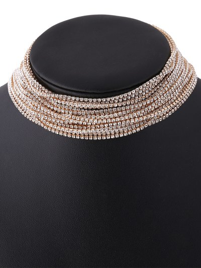 Rhinestone Layered Necklace - CHAMPAGNE  Mobile