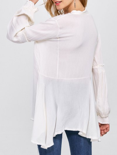 Balloon Sleeve Loose Top - WHITE L Mobile