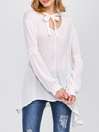 Balloon Sleeve Loose Top - WHITE M Mobile