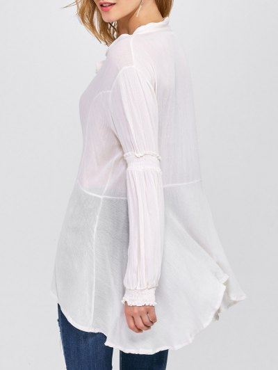 Balloon Sleeve Loose Top - WHITE S Mobile