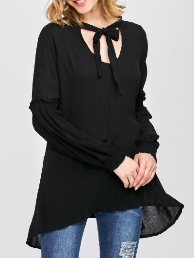 Balloon Sleeve Loose Top - BLACK L Mobile