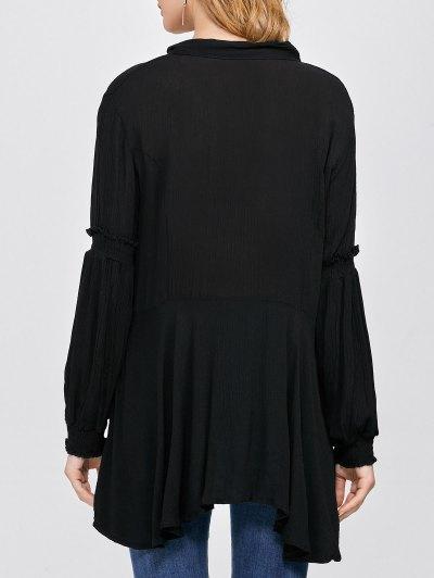 Balloon Sleeve Loose Top - BLACK S Mobile