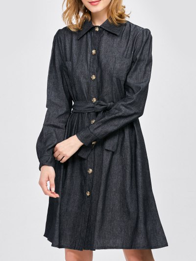 Belted Jean Shirt Dress - BLACK M Mobile