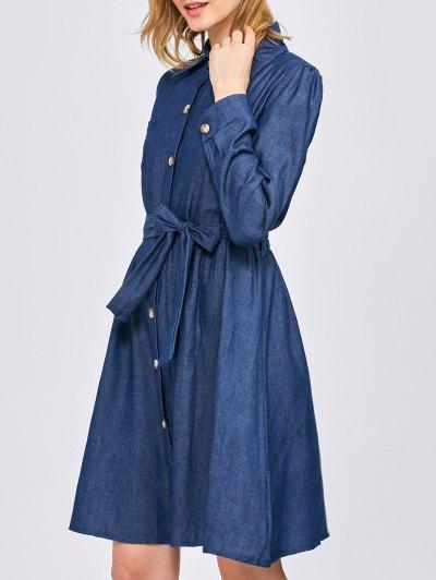 Belted Jean Shirt Dress - BLUE L Mobile