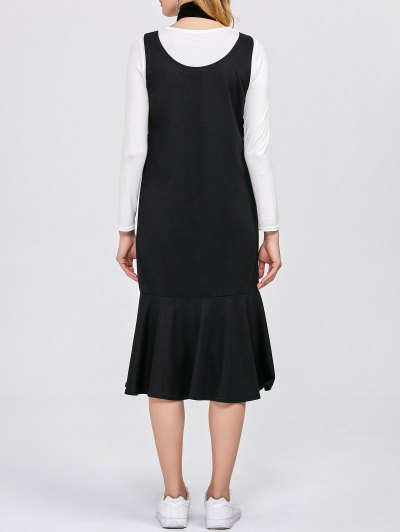 Long Sleeve T-Shirt with Tank Dress - WHITE AND BLACK L Mobile