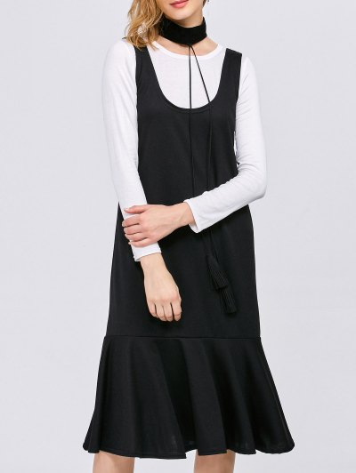 Long Sleeve T-Shirt with Tank Dress - WHITE AND BLACK S Mobile