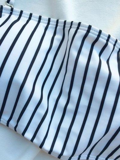 Off The Shoulder Strappy Striped Bikini Set - WHITE L Mobile
