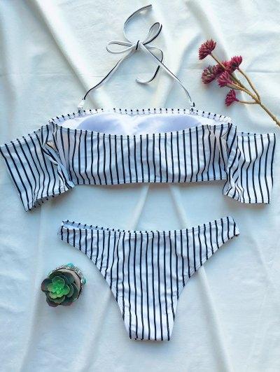 Off The Shoulder Strappy Striped Bikini Set - WHITE M Mobile