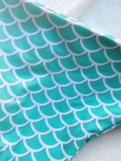 Strappy Fish Scales Print Halter Bikini Set - TURQUOISE BLUE L Mobile