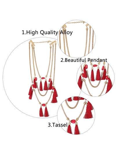 Multilayer Tassel Pendant Necklace - RED  Mobile