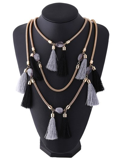 Multilayer Tassel Pendant Necklace - BLACK GREY  Mobile