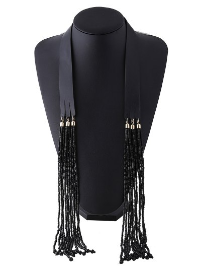 Faux Leather Beads Necklace - BLACK  Mobile