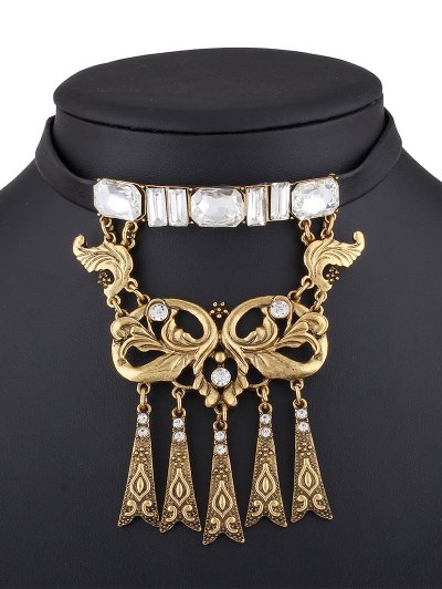 Rhinestone Faux Leather Floral Necklace - CHAMPAGNE  Mobile