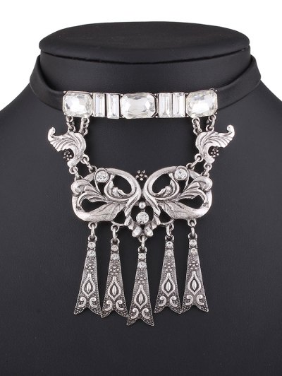 Rhinestone Faux Leather Floral Necklace - SILVER  Mobile