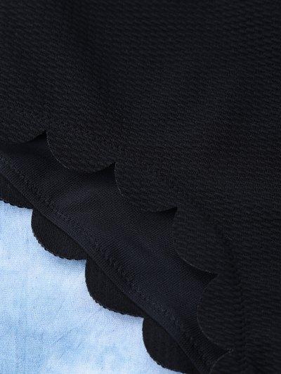 Scalloped High Rise Halter Bikini Set - BLACK L Mobile