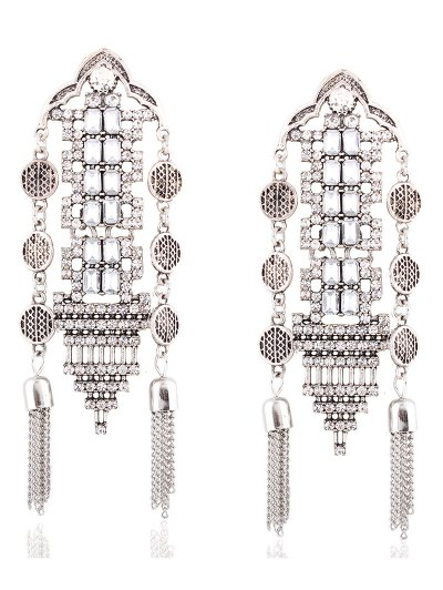 Chain Tassel Rhinestone Hollow Out Earrings - SILVER  Mobile