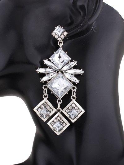 Rhinestone Square Dangle Earrings - WHITE  Mobile