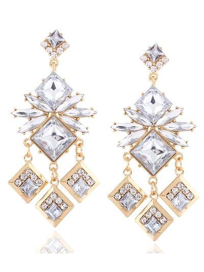 Rhinestone Square Dangle Earrings - CHAMPAGNE  Mobile