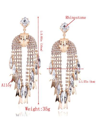 Rhinestoned Water Drop Dangle Earrings - CHAMPAGNE  Mobile