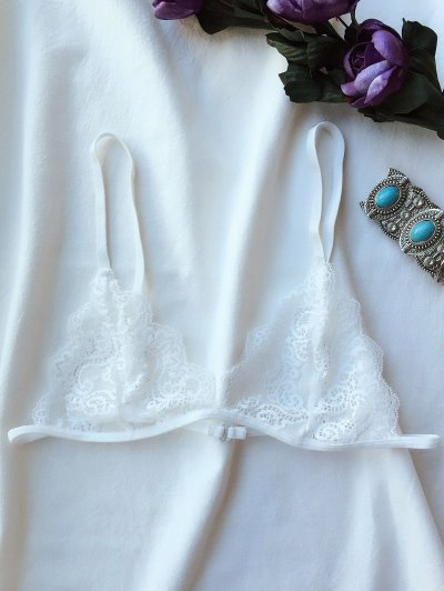 Plunge Unlined Lace Bra - WHITE M Mobile