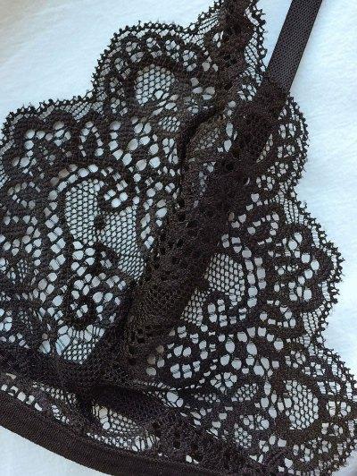 Plunge Unlined Lace Bra - BLACK L Mobile