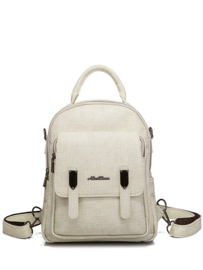 Pocket Faux Leather Double Zipper Backpack - OFF-WHITE  Mobile