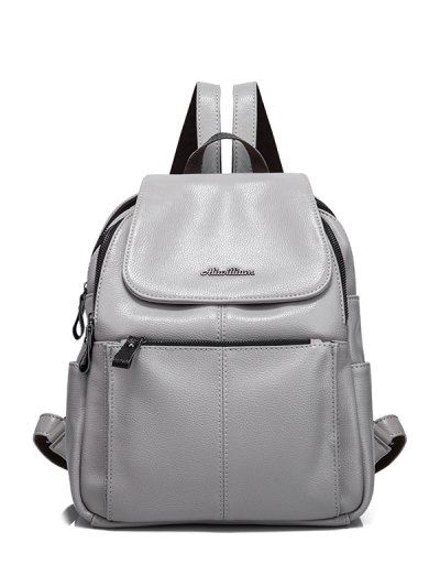 Faux Leather Zippers Pockets Backpack - GRAY  Mobile