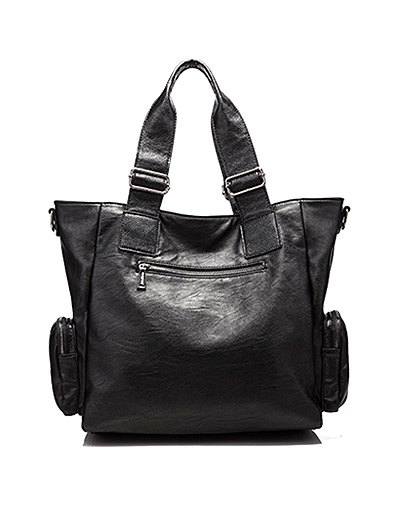 Studded Faux Leather Double Pocket Tote Bag - BLACK  Mobile