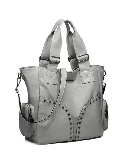 Studded Faux Leather Double Pocket Tote Bag - GRAY  Mobile