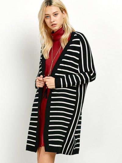 Striped Longline Open Cardigan - WHITE AND BLACK ONE SIZE Mobile