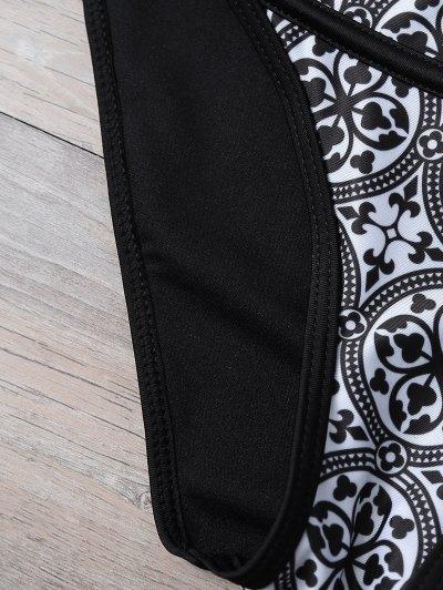 Tile Print Plunge Bikini Top and Bottoms - WHITE AND BLACK M Mobile