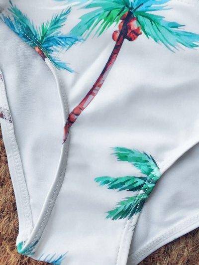 Strappy Coconut Trim Print Bikini - WHITE S Mobile
