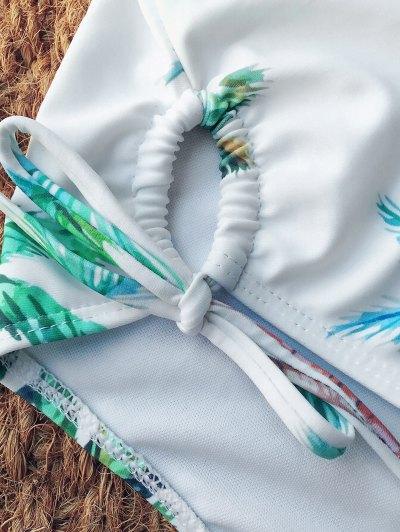 Halter High Leg Coconut Palm Swimsuit - WHITE M Mobile