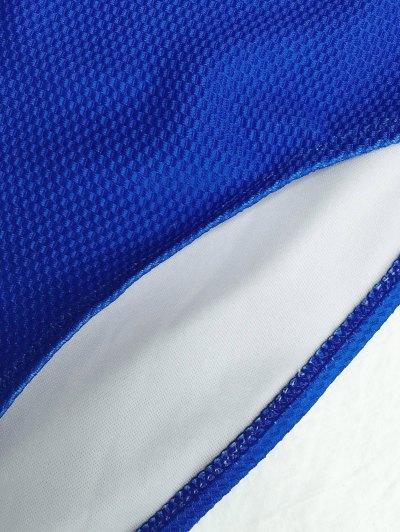 High Cut Bandeau Swimsuit - BLUE L Mobile