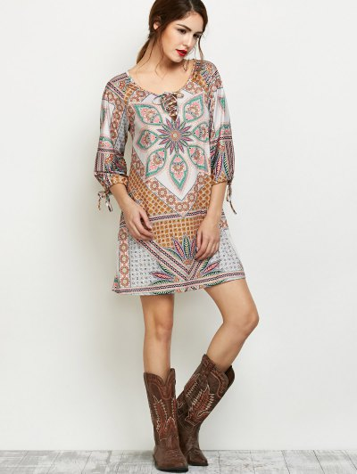 Printed Lace Up Tunic Dress - MULTICOLOR XL Mobile