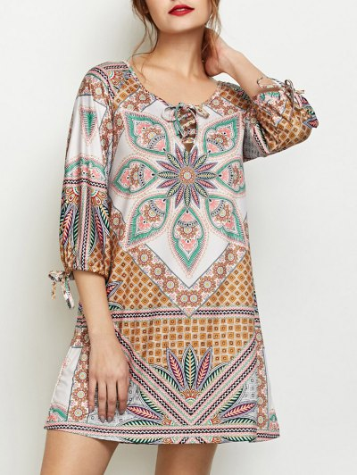 Printed Lace Up Tunic Dress - MULTICOLOR M Mobile