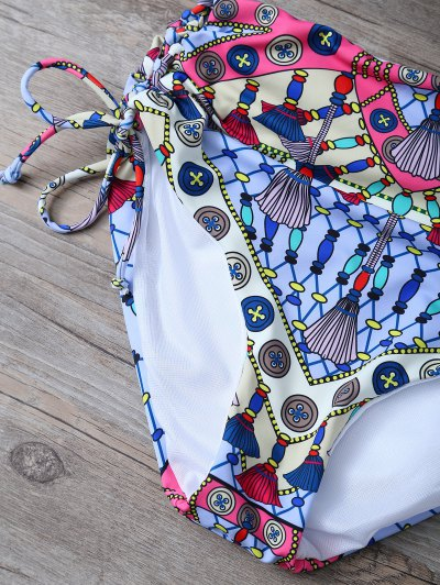 Lace Up High Waisted Patterned Bikini - COLORMIX L Mobile